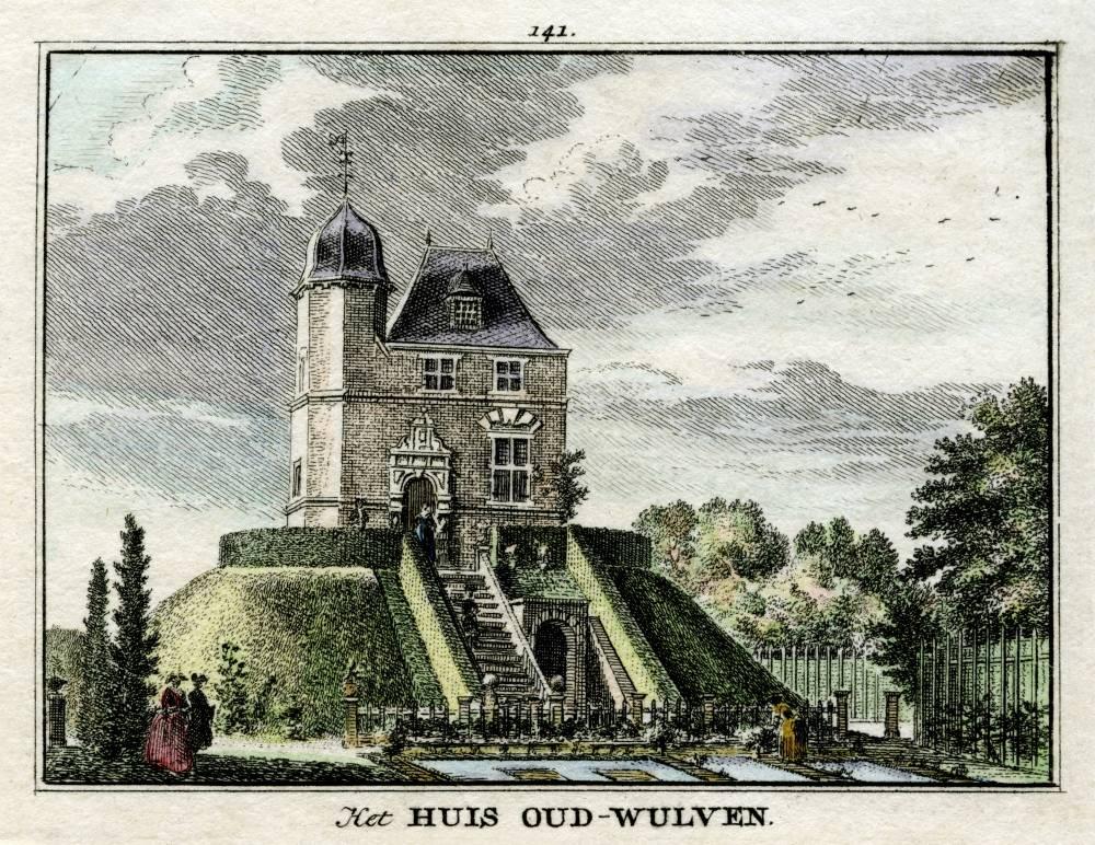 Kasteel Oud Wulven in Houten. Tekening Jan de Beijer, gravure Hendrik Spilman (Uit: Het Verheerlykt Nederland, Isaac Tirion, 1745/1774)
